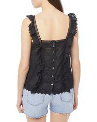 FRAME Women's Katie Lace Top - Noir - Size L - Black