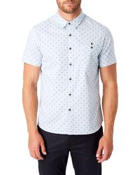 7 Diamonds Flux Slim Fit Short Sleeve Button-up Shirt - Blue