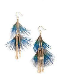 Serefina - Feather Double Drop Earrings - Lyst