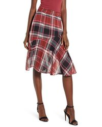 Vero Moda Vera Moda Nora Plaid Asymmetrical Ruffle Skirt - Red