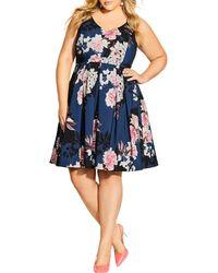 City Chic Darling Floral Fit & Flare Crêpe De Chine Dress - Blue