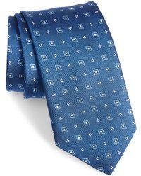 David Donahue Geometric Silk Tie - Blue