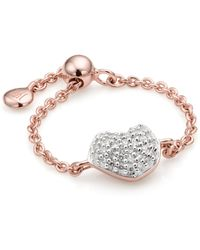 Monica Vinader - Nura Mini Heart Friendship Chain Ring - Lyst