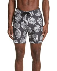 Onia - Palm Stamps Alek Board Shorts - Lyst
