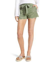 BP. - Tie Waist Scallop Hem Shorts - Lyst
