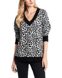 Vince Camuto Leopard Jacquard Long Sleeve Top - Black
