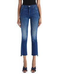 Mother The Insider Frayed Step Hem Crop Jeans - Blue