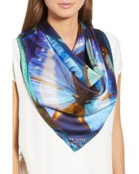 Ted Baker - Butterfly Silk Square Scarf - Lyst