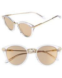 Sonix Quinn 48mm Cat Eye Sunglasses - Clear/ Amber Mirror - Metallic