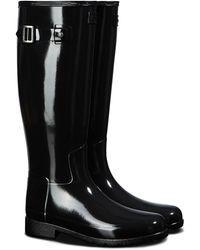 HUNTER Original Refined Gloss Tall Waterproof Rain Boot - Black