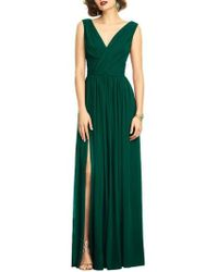 Dessy Collection | Surplice Ruched Chiffon Gown | Lyst