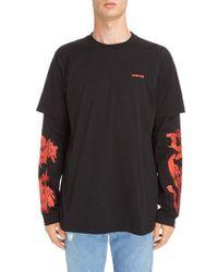 Givenchy - Rose Print Long Sleeve T-shirt - Lyst