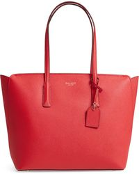 Kate Spade Large Margaux Leather Tote - Red