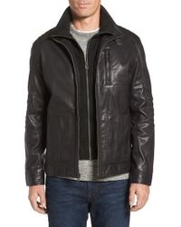 Cole Haan - Washed Leather Moto Jacket With Knit Bib - Lyst
