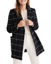 Madewell Hollis Windowpane Check Double Breasted Coat - Black