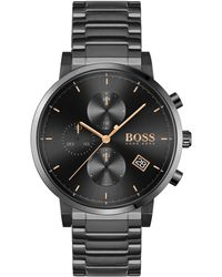 BOSS by Hugo Boss Chronograph Integrity Black Stainless Steel Bracelet Watch 43mm