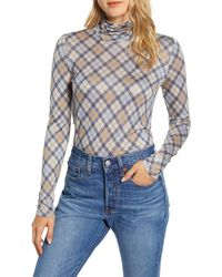 Lou & Grey Elma Plaid Turtleneck Top - Blue
