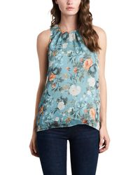 Vince Camuto Nevada Bouquet Sleeveless Blouse - Blue