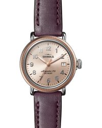 Shinola 'the Runwell' Leather Strap Watch - Metallic