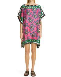 La DoubleJ Scarf Print Silk Cover-up Tunic - Multicolor