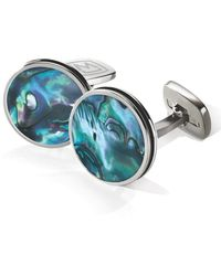 M-clip Abalone Cuff Links - Stainless Steel/ Green