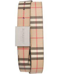 Burberry Plaque Buckle Reversible Vintage Check E-canvas Belt - Natural