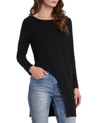 Vince Camuto High/low Cutout Long Sleeve Tunic - Black