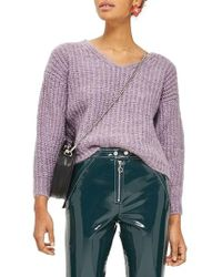 TOPSHOP | Oversized V-neck Sweater | Lyst