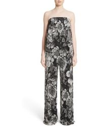 Fuzzi | Popover Strapless Floral Print Tulle Jumpsuit | Lyst
