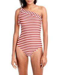 J.Crew - One-shoulder Stripe One-piece Swimsuit - Lyst