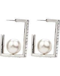 Ben-Amun - Crystal & Imitation Pearl Square Hoop Earrings - Lyst