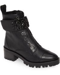 Karl Lagerfeld Pippa Crystal Embellished Platform Boot - Black