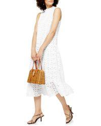 TOPSHOP Chuck-on Broderie Sleeveless Midi Dress