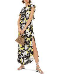TOPSHOP - Deconstructed Floral Print Maxi Dress - Lyst