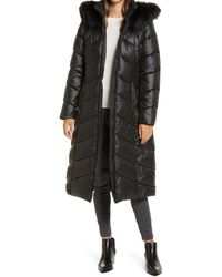 Gallery Long Quilted Parka With Faux Fur Trim - Black