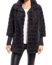 Ellen Tracy Grooved Knit Cuff Faux Fur Coat - Blue