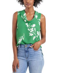 Vince Camuto Cowl Neck Sleeveless Top - Green