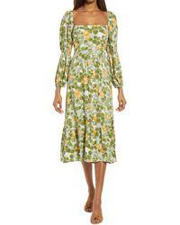Reformation Floral Long Sleeve Midi Dress - Green