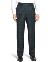 Berle - Pleated Classic Fit Plaid Wool Trousers - Lyst