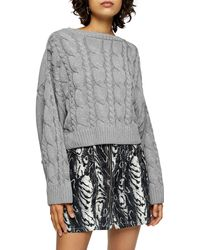 TOPSHOP Gray Knitted Super Crop Cable Sweater