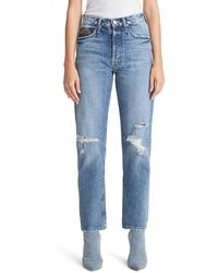 Mother The Tomcat Ankle Straight Leg Jeans - Blue