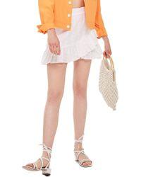 TOPSHOP - Broderie Ruffle Miniskirt - Lyst