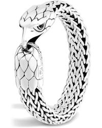 John Hardy Sterling Silver Legends Eagle With Black Chalcedony Eyes Flat Chain Bracelet - Metallic
