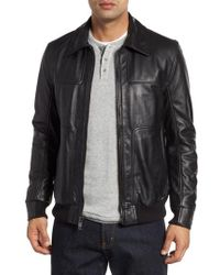 Andrew Marc - Vaughn Shirt Collar Leather Bomber Jacket - Lyst