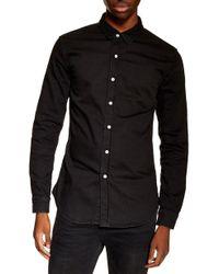 TOPMAN Stretch Denim Shirt - Black