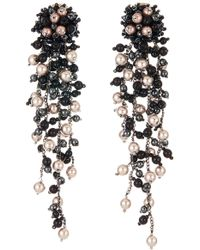 Oscar de la Renta - Flower Chain Shoulder Duster Clip Earrings - Lyst