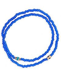 Luis Morais - Sapphire And Gold Double Strand Stretch Bracelet - Lyst