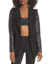 BLANC NOIR Hooded Moto Blazer With Faux Leather Sleeves - Black