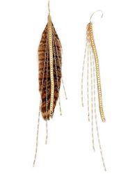 Serefina - Chain & Feather Earrings - Lyst