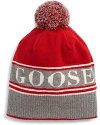 Canada Goose Pom Merino Wool Blend Beanie - Red